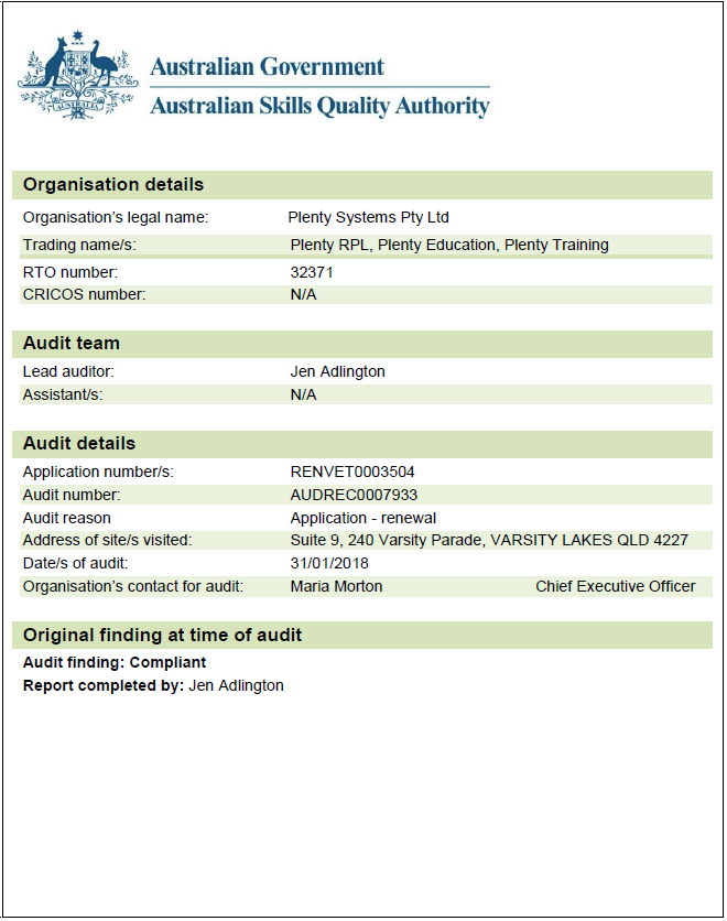 ASQA_2018_audit_report_Plenty_Training